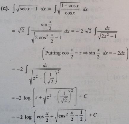 11 Integral of root sec x minus 1