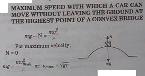 11c Centrifugal force Maximum speed with which a car