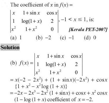 19 coeff of x in Determinant