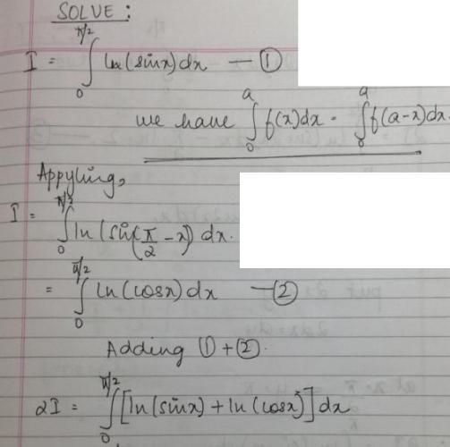 1a Ln(Sinx) dx 0 to Pi by 2