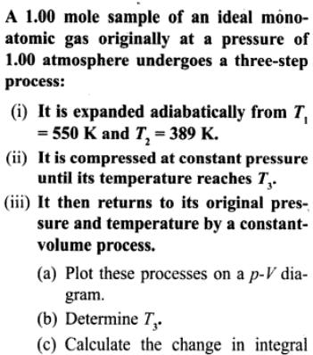 1a sample of Ideal mono atomic gas