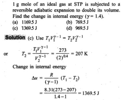 1c change in internal energy for adiabatic expansion