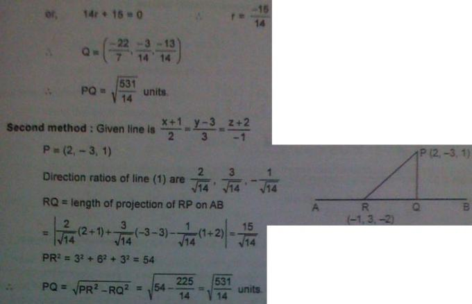 1d Foot, length, equation of perpendicular from a point