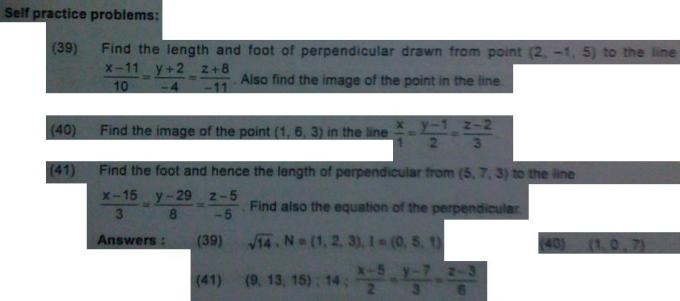 1e Foot, length, equation of perpendicular from a point