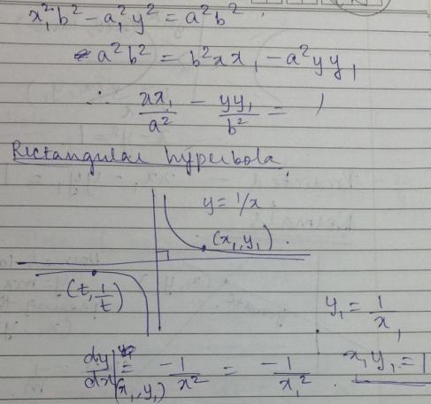 1e tangent to rectangular hyperbola