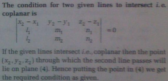 1e the condition for 2 given lines to intersect