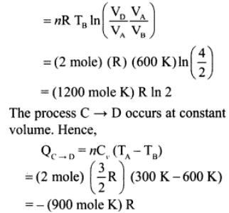 1f mono atmoic ideal gas of 2 moles cyclic
