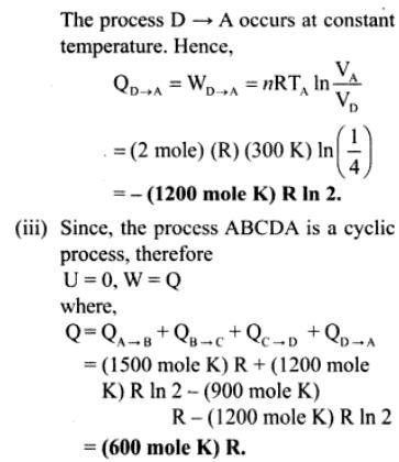 1g mono atmoic ideal gas of 2 moles cyclic