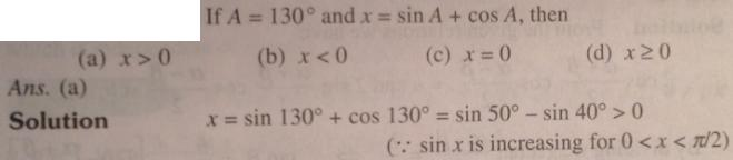 2 A is 130 degree x is Sin A plus cos A