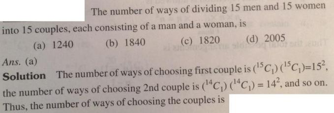 201 Number of ways to make 15 couples from 15 men and 15 women