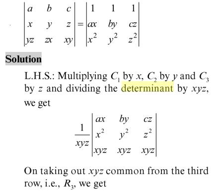 23 Find the vaue of the Determinant
