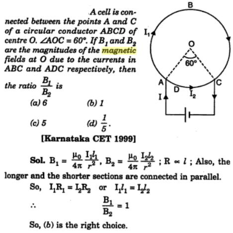 25 Magnetic field Karnataka CET 1999 SKMClasses