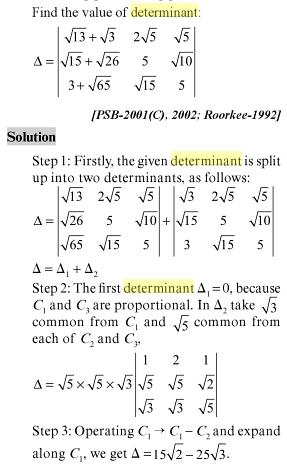 27 Find the value of the Determinant