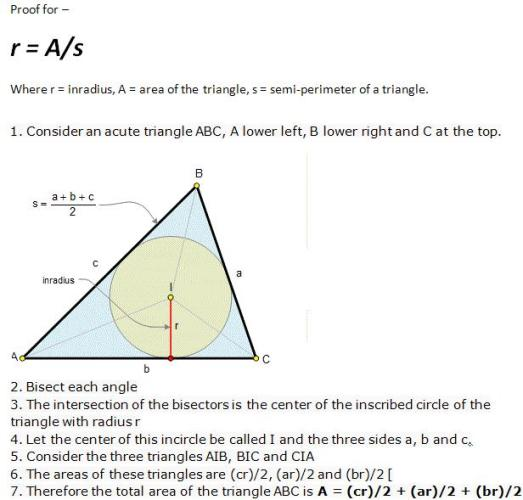30a Geometry properties of Triangle Proof r= Area by s