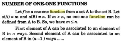 30f Number of one to one functions