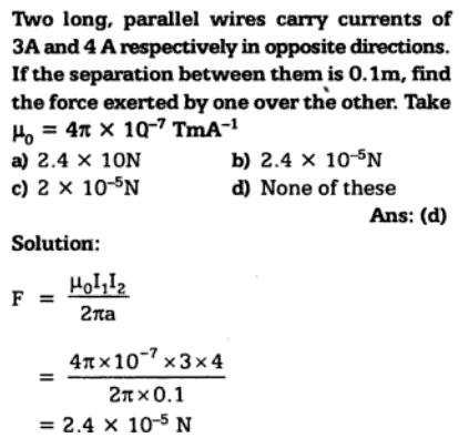 32 long parallel wires carry currents SKMClasses IIT JEE