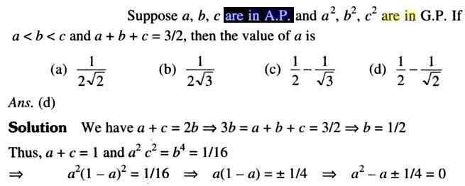 34a a,b,c are in AP and a square in GP