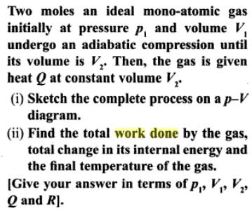 3a mono atomic gas adiabatic compression