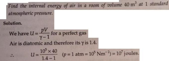 4 internal energy of air at 1 atm