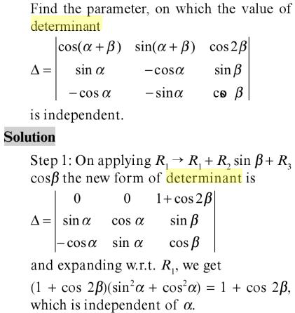 43 Determinant independent of alpha