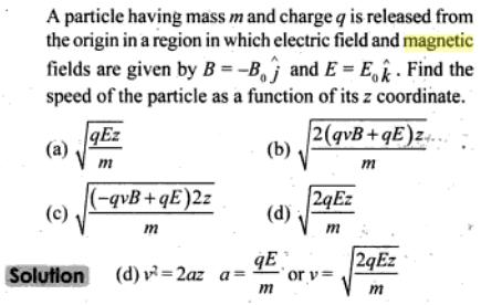 45 A particle having mass m charge q SKMClasses IIT JEE