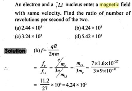 49 electron and lithium nucleus enter a magnetic SKMClasses