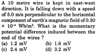 53 10 m wire kept in east west direction SKMClasses IIT JEE Bangalore
