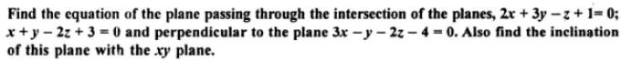 55a Find the equation of the plane passing