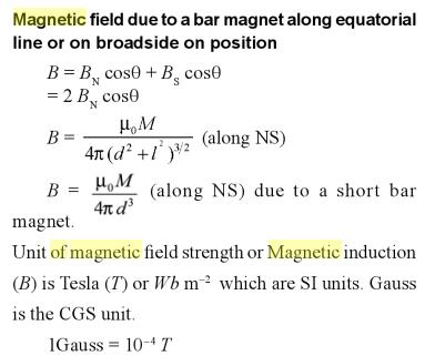 7 Magnetic field due to a bar magnet along equatorial line