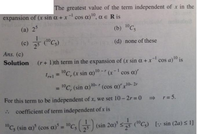 8 Binomial Theorem Greatest value of the term