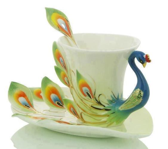 peacock cup dish