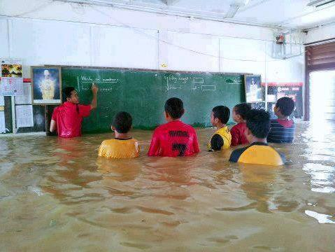 Students in deep water