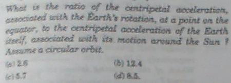10a ratio of centripetal acceleration