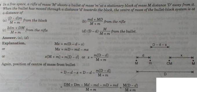 1a Center of mass of the bullet mass system