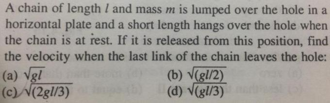 1a Chain of length l mass m is lumped velocity