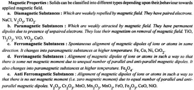 6a Magnetic Properties of Solids Diamagnetic Paramagnetic