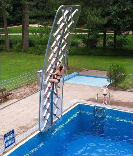 Pool side climbing wall