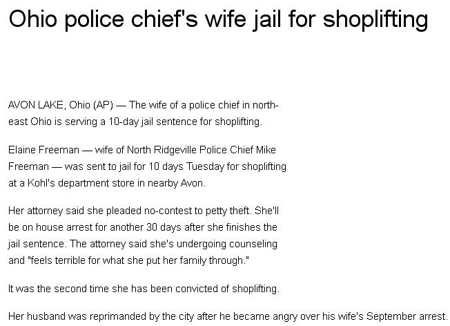 1a Ohio police chief's wife in jail for shoplifting