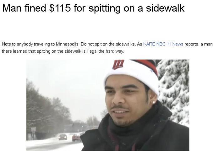 1b man fines dollar115 for spitting on a sidewalk