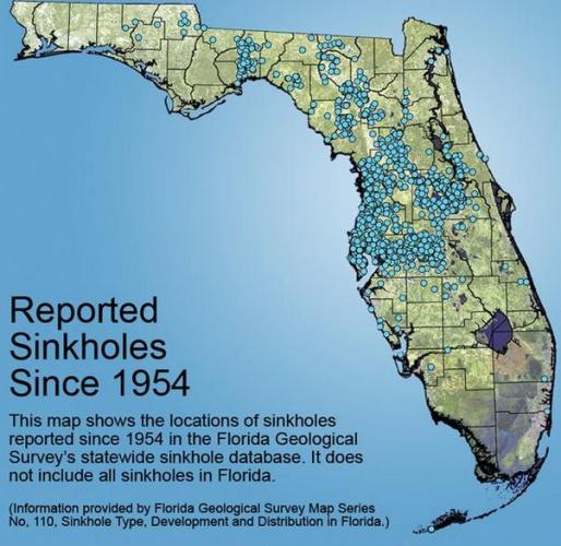 1h reported sinkholes since 1954
