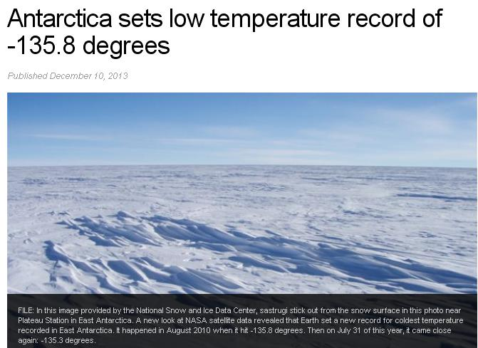 2n Antartica low temperature record -135.8 degrees