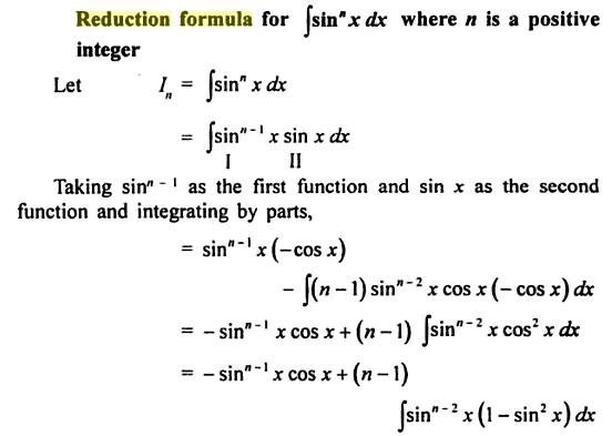 1 reduction formula for Sin to the power n