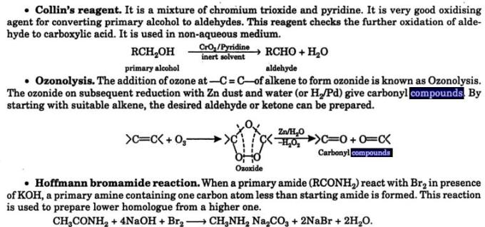 10 Collin's reagent Hoffmann bromamide reaction