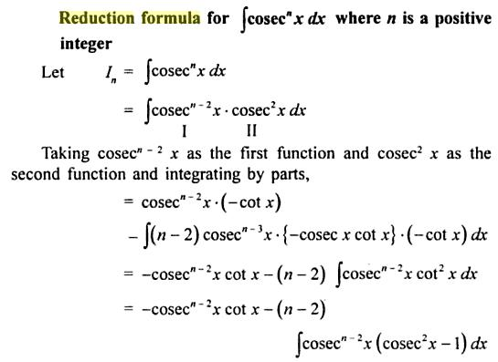 10 reduction formula for Cosec to the power n