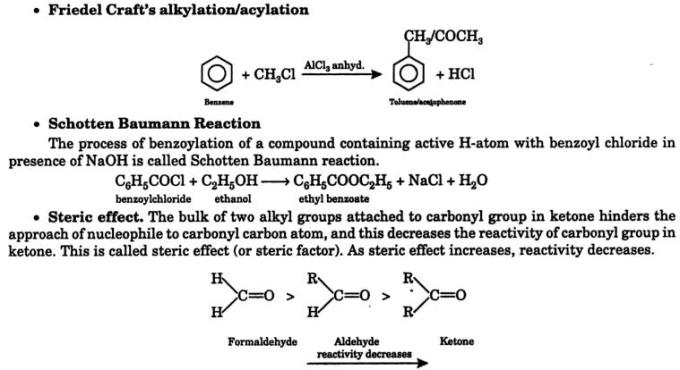 11 Friedel Craft's alkylation Schotten Baumann Reaction