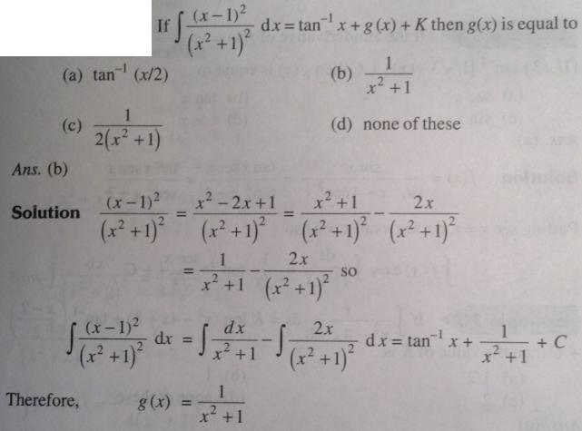 111 Integration x minus 1 square by x square plus 1 whole square