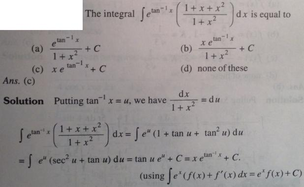 124 Integration e to the power tan inverse x f(x) form