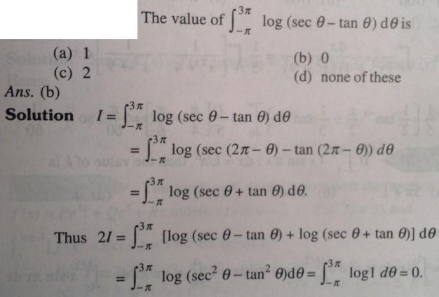 130 Integration log sec theta minus tan theta