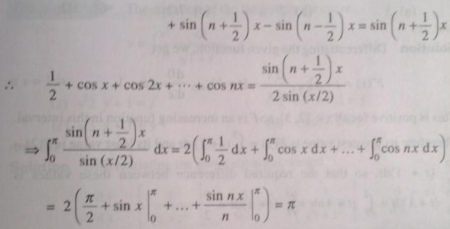 210 Integration Sin n plus half by Sin x by 2