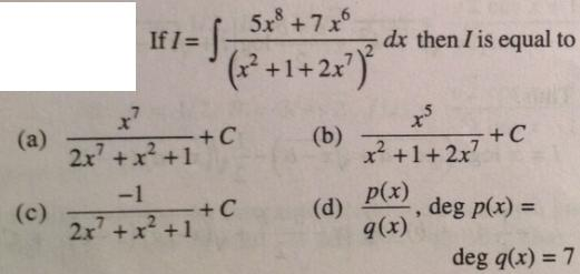 215 Integration 5 x^8 plus 7 x ^6 by quadratic square